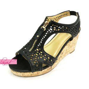 Diba Nala II Wedge Sandals Cut-Outs Zippers Edgy 6